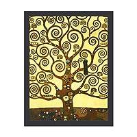 INOV グスタフ クリムト 生命 樹 絵画 インテリア フレーム装飾画 アートポスター 額入り(30cm*40cm) 壁画 アートパネル 油絵 壁飾り 壁掛け 木枠付き
