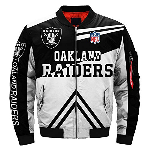 Mens NFL Football Jacket Rugby Jacket Colorful Flight Bomber Outdoor Sports Lightweight Coat S-5XL (Oakland Raiders,3XL)