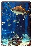 MIFSOIAVV Vendimia Cartel de Chapa metálica Tiburón de acuario Placa Póster,Decoraciones de de Pared de Hierro Retro para Café Bar Pub Casa 20x30cm