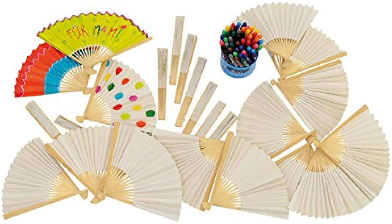 Betzold 58060 - Bastelset Papierfächer für Kinder - 24 Fächer, blanko  48 Filzstifte zum bunten Gestalten - Mitgebsel basteln B01LN3N90U  | Spaß