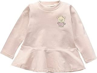 Xifamniy Newborn Girls Dress Cute Piglet Printing Solid Color Long-Sleeved Autumn Dress