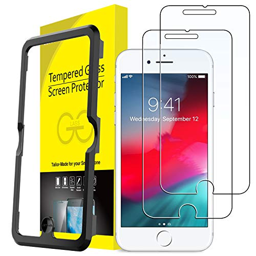 JETech Screen Protector for iPhone 8 Plus, iPhone 7 Plus, iPhone 6s Plus, iPhone 6 Plus, 5.5-Inch, Tempered Glass Film with Easy-Installation Tool, 2-Pack