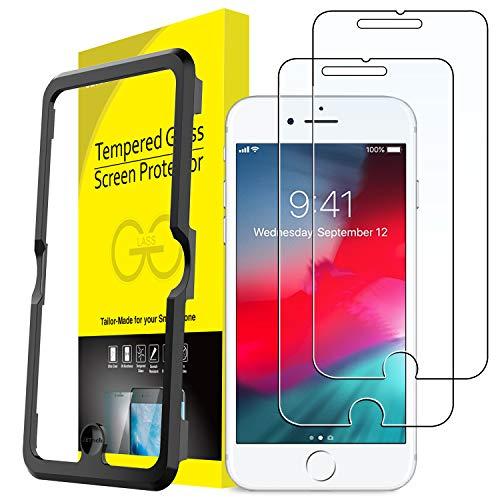 JETech Pellicola Protettiva per iPhone 8 Plus / 7 Plus / 6s Plus / 6 Plus, in Vetro Temperato, con Strumento di Facile Installazione, 2 Pezzi