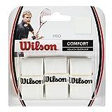Wilson Pro Overgrip Empuñaduras de de Squash y Repuesto, 3 Unidades, Unisex, Blanco