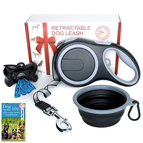 Doge Approved Retractable Dog Leash 26 Foot Extra Long Tape - Dog Leash Retractable for Medium Large Breed - Best Heavy Duty Big Pet Retractable Leashes Set with Bag Dispenser and Bowl - Black