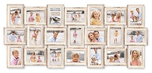 Eurographics Multiframe-21 Vintage White Collage-Bilderrahmen, Glas, Holz, beige, 57,5 x 122,5 x 2,5 cm