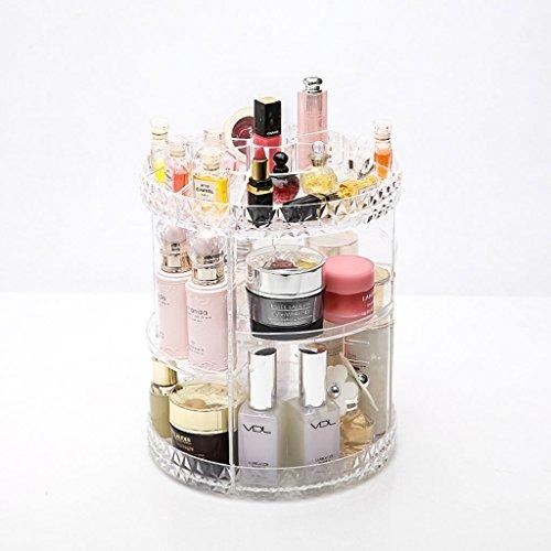 Coffrets de maquillage Boîte de Rangement cosmétique Transparent Acrylique Rack De Stockage Rotatif Plateau Dressing Table Organisateur 20.5 * 25.5 cm (8.1 * 10.0inch)