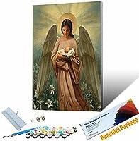 DIY ペイント番号キット 天使の女の子の肖像画 大人と子供のための番号でペイントDIY油絵ギ 壁装飾 30x45cm フレームレス