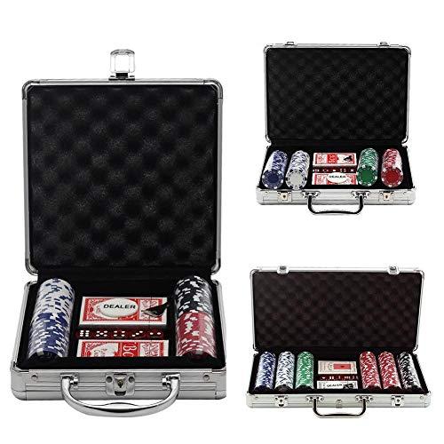 FORYOURS Pokerset Mit Chips, Pokerchips, Poker Komplett Set, Alu Pokerkoffer, 5X Würfel, 2X Poker, Pokerchips, Koffer, Jetons, Deluxe Pokerset Casino Chipszahl Wählbar, 100/200/ 300PCS
