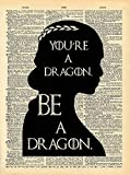 Game of Thrones Art - Khaleesi Dragon Quote - Vintage Dictionary Print 8x10 inch Home Vintage Art Abstract Prints Wall Art for Home Decor Wall Decorations Office Ready-to-Frame Dragon D224