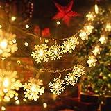 Weihnachten Schneeflocke Lichterketten, 6m 40LED Lichterkette Schneeflocken, Batteriebetriebene Dekorative Lichterkette, Weihnachtsdekoration Lichter, Garten Schlafzimmer Party Decor, Warmweiß
