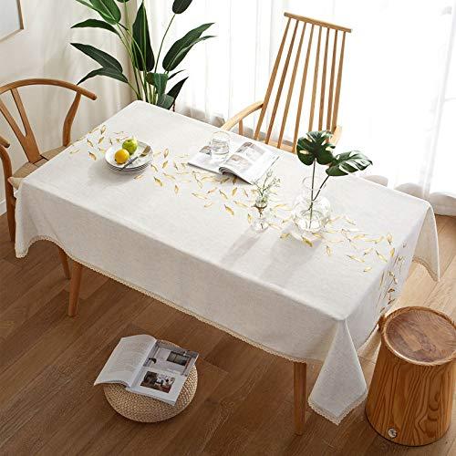 CYYyang Borla del Paño de Tabla del Lino del Algodón para la Cubierta de Tabla de Cena del Banquete Bordado Americano Impermeable pequeño Fresco