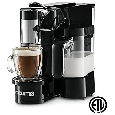 Gourmia GCM5500 1 Touch Automatic Espresso Cappuccino & Latte Maker Coffee Machine - Brew, Froth Milk, and Mix Into Cup, Black,