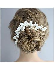 HONEY BEAR mujeres joyería nupcial Peinetas para el pelo flores,Cristal Simulated Pearl Peine de Novia Boda del Pelo Accesorio de Clip de Pelo,plata (flor de cerámica C)