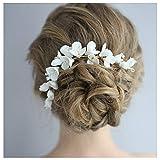 HONEY BEAR donna clip pettine per capelli,gioielli da sposa,accessori per capelli sposa,gioielli a forma di fiore con finte perle e strass (Fiore in ceramica D)