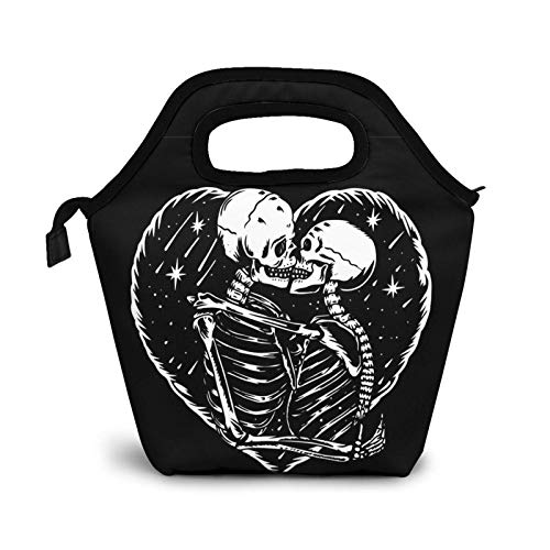 Sugar Skull Love Kiss Lunch Bag Insulated Cooler Lunch Box,Black Background Reusable Tote Outdoor Travel Picnic Bags for Snacks Organizer for Women Men Office Work