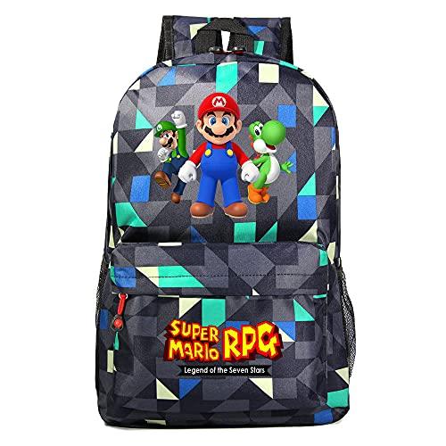 Super Mario Bros. Mochila escolar para niños y niñas, mochila de viaje para ordenador, Mario5. (Azul) - DSFDSFGG