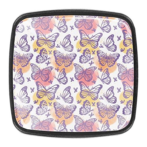 Pomos de cristal de mariposa púrpura para armario de cocina, 4 unidades