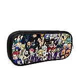 Bolsa de lápiz con cremallera portátil para la escuela, Anime Fairy Tail Logo Toda la colección de personajes Cartel Bolsa de maquillaje cosmético, Bolsa de almacenamiento vintage