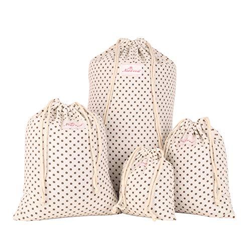 NEOVIVA 巾着袋 小 化粧品ポーチ 可愛い 4点セット 小物入れ コットン 旅行 プレゼント ドット ベージュ