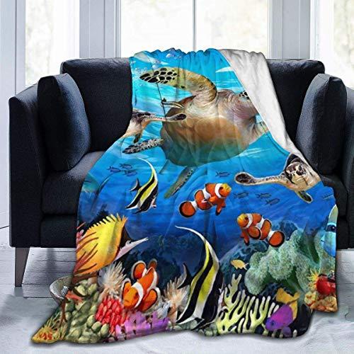 AEMAPE Manta de Tiro Alfombra térmica de Peces de Arrecife de Coral Cama para niños Alfombra de Dormir Duradera Funda de Franela para Invierno 50 'x 60'
