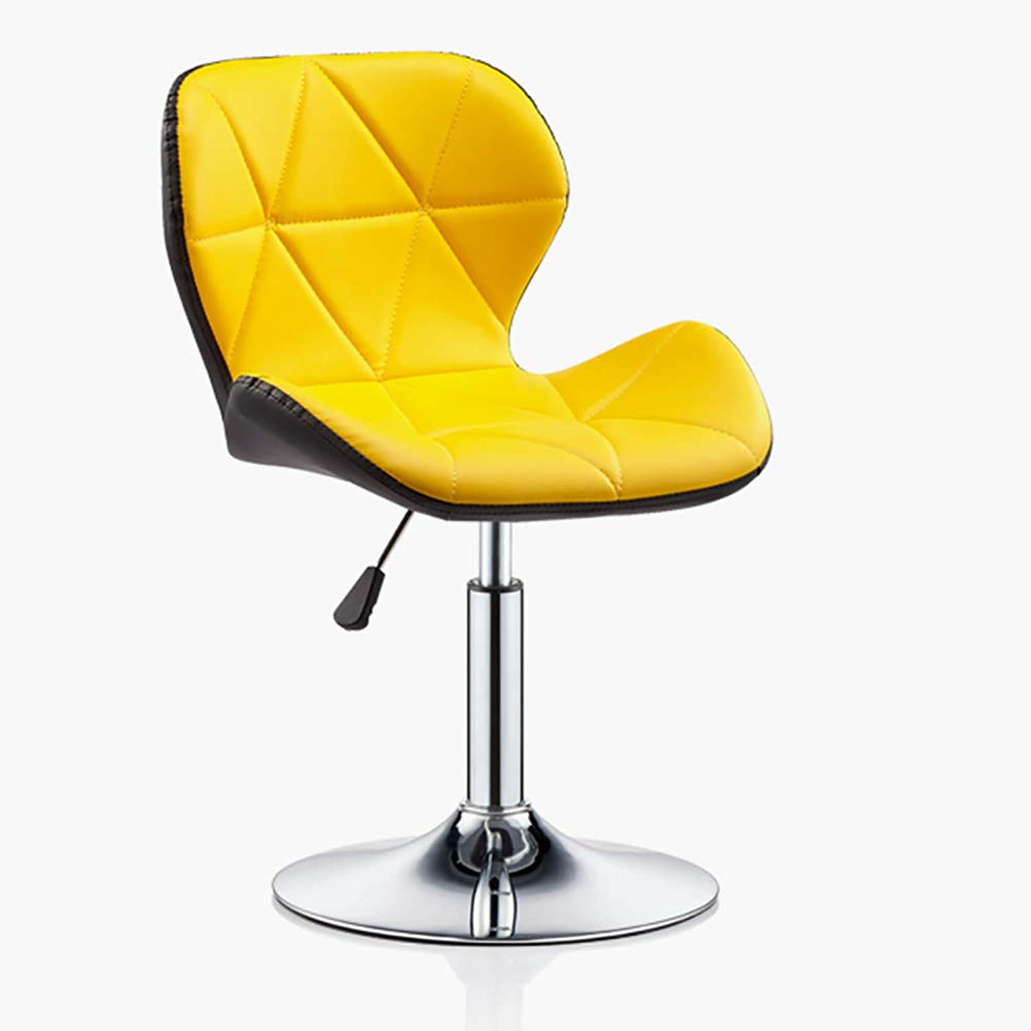Bar Table and Chair, Office Work Stool Chair, Adjustable 360° redatable, Round Front Reception Stool-Yellow