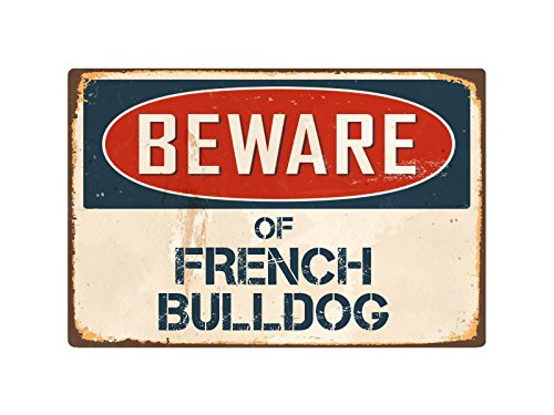 "StickerPirate Beware of French Bulldog 8"" x 12"" Vintage Aluminum Retro Metal Sign VS176"