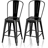 VIPEK 24' Counter Height Bar Stools Commercial Grade Patio Bar Chairs Metal 24 Inches Height Barstool with High Back Side Dining Chairs for Bistro Pub Cafe Kitchen, Set of 2, Gloss Black