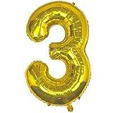 DIWULI, Globos gigantescos con número 3, color dorado brillante, globos con número 3, globos de color dorado brillante, globos de aire con número número número NR años