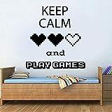 Jugar juegos calcomanías de pared mantener la calma pegatinas de vinilo para ventanas sala de juegos dormitorio de jugador adolescente decoración para el hogar
