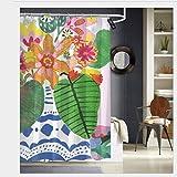 Nonebrand Rideau de douche avec 12 crochets Motif bouquet de fleurs abstrait 183 x 183 cm