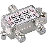 SAT & BK-Verteiler - 2-Fach Splitter - voll geschirmt - Unicable & HD tauglich [DUR-line D2FV - für Satelliten-Anlagen(DVB-S2) - BK - UKW Radio - DC-Durchlass - TV Antennen Fernseh...