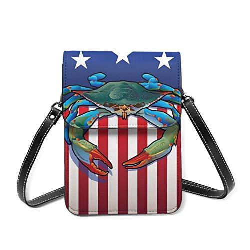 Krebs Amerikanische Flagge Patriot Lustige Leder Kleine Handytasche Crossbody Handy Geldbörse für Frauen Handy Schultertaschen Kartenhalter Geldbörse mit verstellbarem Gurt Geschenke