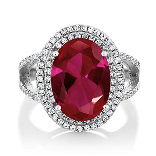 Gem Stone King 925 Sterling Silver Red Created Ruby Women's Cocktail Ring (7.19 Carat, Oval 14X10MM) (Size 6)