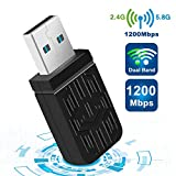 WiFi USB Antena Adaptador,1200Mbps USB 3.0 Mini WiFi USB Dongle Dual Band 2.4G/5.8GHz Receptor para PC Desktop Laptop Tablet, Windows XP/Vista/7/8/10/Mac OS 10.6-10.14