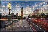 1000 piezas-Rayas de Buses Westminster Bridge y las Casas del Parlamento en Rompecabezas de madera DIY Rompecabezas educativos para niños Regalo de descompresión para adultos Juegos creativos Juguete