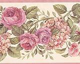 Blooming Violet roses sur Vine Floral Frise papier peint Motif rétro, rouleau de...
