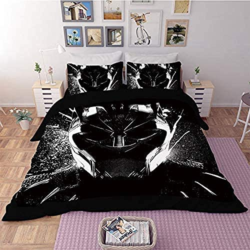 Fifase 3 Pieces Black Animal Leopard Helmet Pattern(200 X 200 Cm) Polyester Fiber Duvet Cover, Soft And Comfortable Print Bedding Set With Zipper Closure, 2 Pillowcases