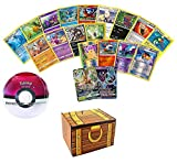 100 Assorted Pokemon Cards: Features 2 GX Rares, 4 Holos, and 4 Rares - All Cards are Authentic - Includes Golden Groundhog Treasure Chest 100 Cards Capacity Storage Box and 1 Sealed Pokeball Tin!