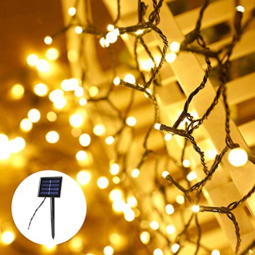 Solar Christmas Lights (Green Wire), 2-Pack Each 72ft 200 LED Solar String Lights, Super Bright Waterproof 8 Modes Decorative Lights for Christmas Party Wedding (Warm White)