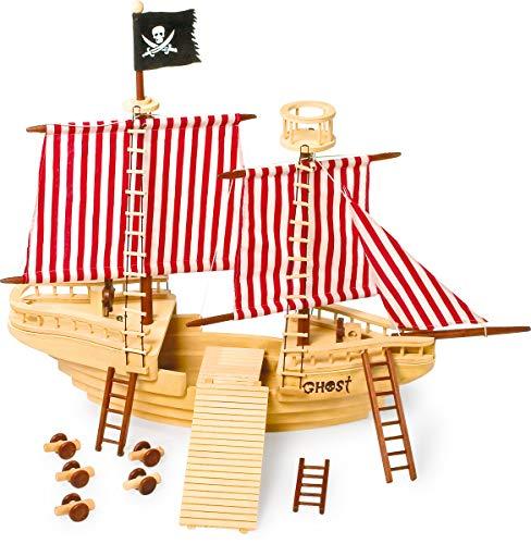 small foot 1920 Piratenschiff aus Holz, mit Piraten-Crew sowie mit allerlei Zubehör
