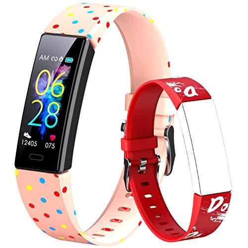 Dwfit - Pulsera deportiva infantil unisex para reloj inteligente, con podómetro, registro de actividad, impermeable, pulsómetro de muñeca, registro de sueño y calorías para Android/iOS, PR