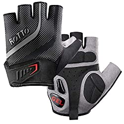 ROTTO cycling gloves MTB gloves half finger for fitness men women with gel and SBR padding black-gray (black-gray, M)
