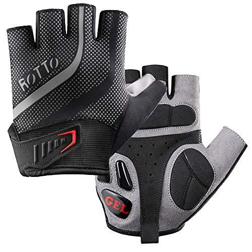 ROTTO Fahrradhandschuhe MTB Handschuhe Halbfinger für Fitness Herren Damen mit Gel und SBR-Polsterung Schwarz-Grau (Schwarz-Grau, XL)