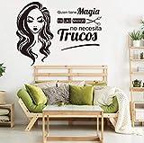 Salones de belleza españoles Peluquerías que tienen magia Etiqueta de la pared Cabello Uñas Spa Salón de belleza Tienda Ventana Vidrio Etiqueta de la pared Vinilo Arte 56x42cm
