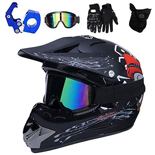 QYTK VOMI Casco de Moto Cross con Gafas Guantes Mascarilla, Casco de Motocross de Enduro de Downhill Casco Completo para Bicicleta de Montaña Dot Homologado Casco Moto Seguridad,Skull,L