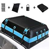 SEAAN Cofre de techo para coche, resistente, 21 pies cúbicos, plegable, impermeable, bolsa de techo antideslizante, para cualquier coche, furgoneta o SUV (azul)