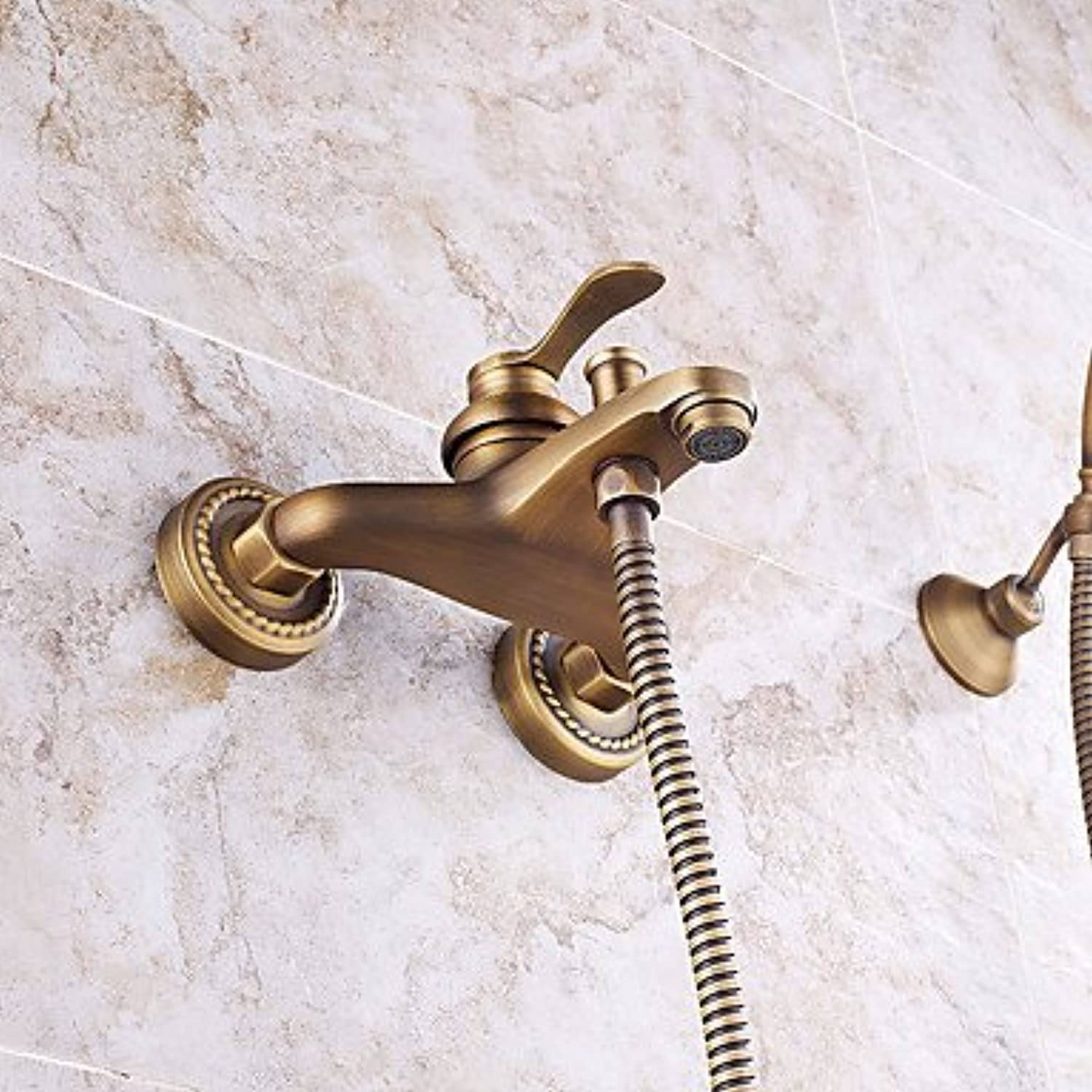 YAMEIJIA Shower Faucet - Antique Art Deco Retro Modern Antique Copper Wall Mounted Ceramic Valve Brass Single Handle Two Holes