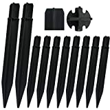 RIGHT+LEFT 10 PCS Premium 8.25 Inch Upgraded Reinforced Plastic Ground Spikes, ABS Lights Replacement Stakes, Draining Design, Ideal for Solar Torch Candy Cane Pathway Garden Lights
