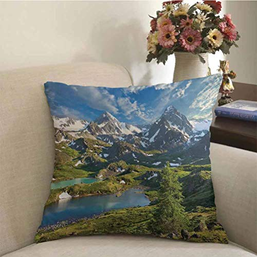 Landscape Decorative Throw Pillow Covers Mountain Lake Russia Siberia Altai Mountains Katun Ridge Snowy Peaks Square Garden Throw Pillow Cover Green Blue and White for Home Decorative Friends Gift